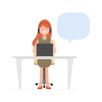 コールセンターの通信にラップトップで働く女性。