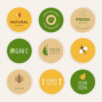 天然ラベルと新鮮な有機バナー農業のロゴ