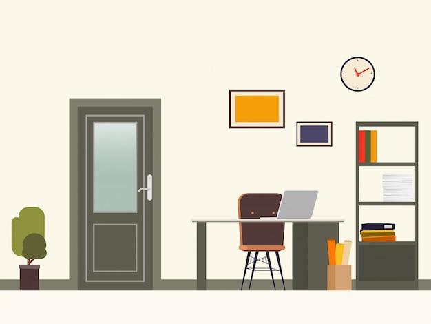 事務室の扉と作業現場の様子。