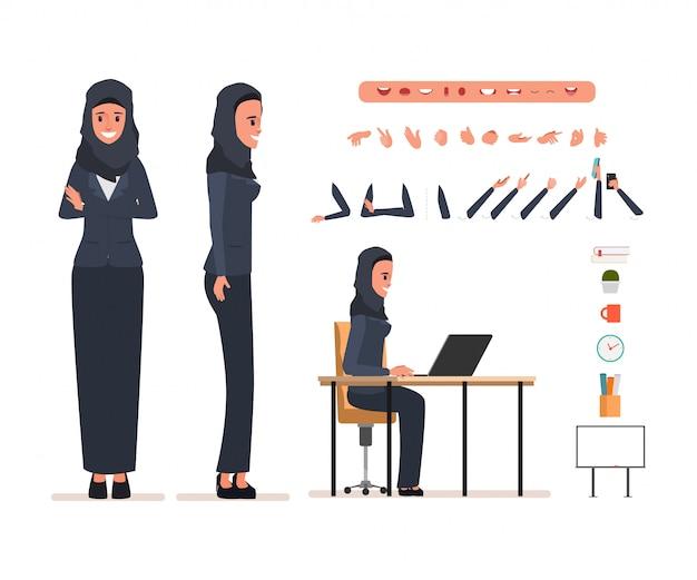 アニメーションのビジネスアラブ女性キャラクター。