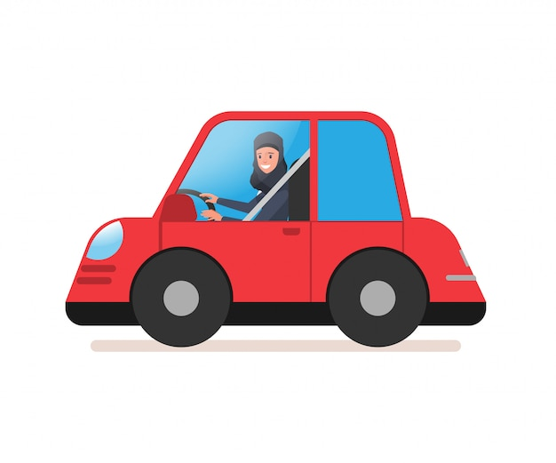 ビジネスアラブ女性が車を運転します。