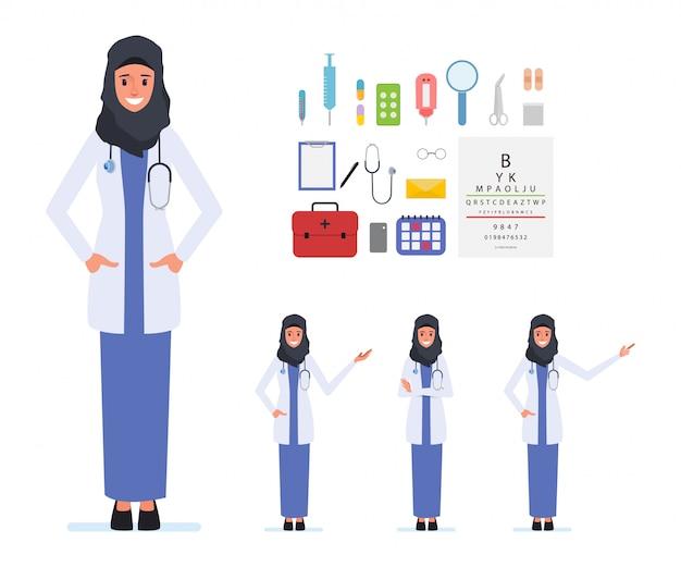 イスラム教徒またはアラブの医師文字医療スタッフ。