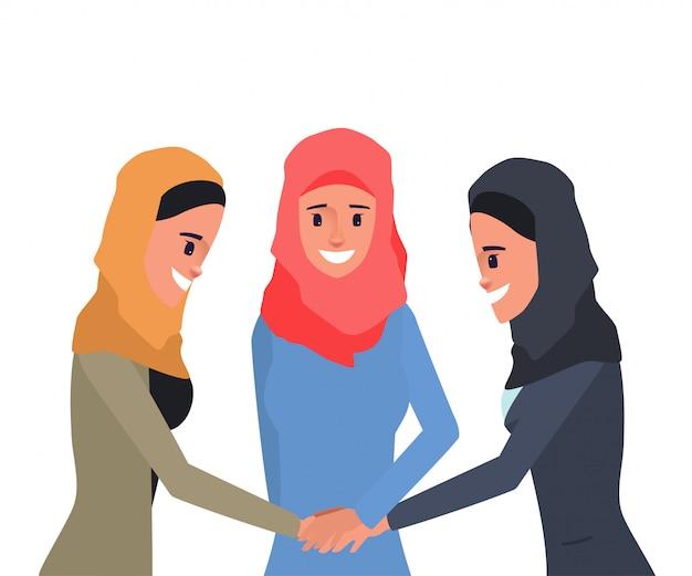 アラブまたはイスラム教徒のチームワークの人々の概念。