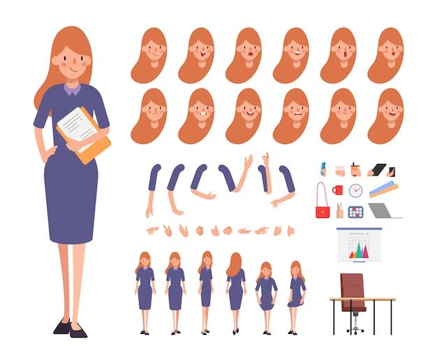 Бизнес женщина персонаж для анимации лица эмоции рта.