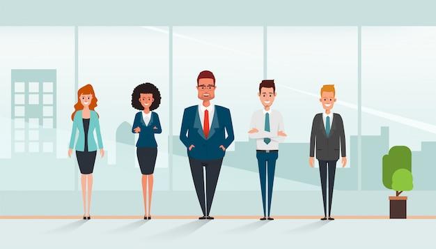 ビジネス人キャラクターチームワーク立っている企業。