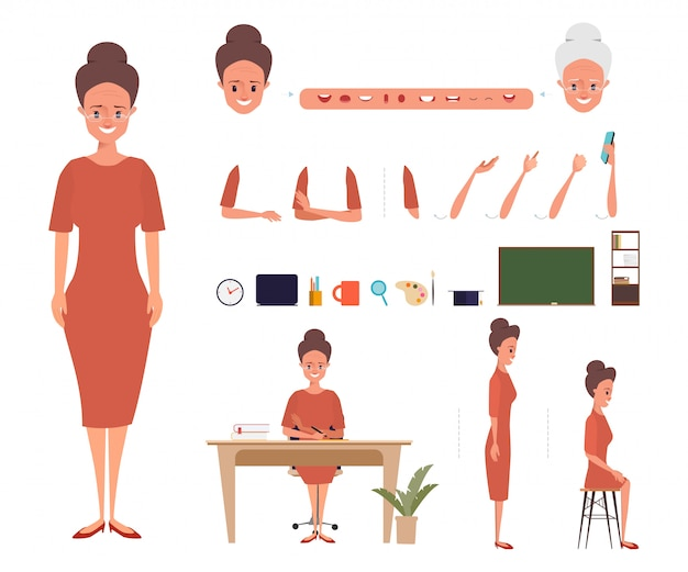 Бизнес женщина персонаж для анимации рта.