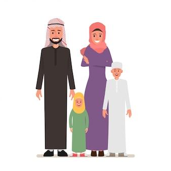 Арабская семья люди персонажа с родителем.