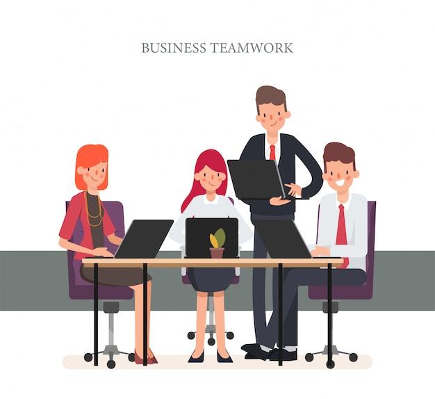 ビジネスチームワークオフィスキャラクター同僚。