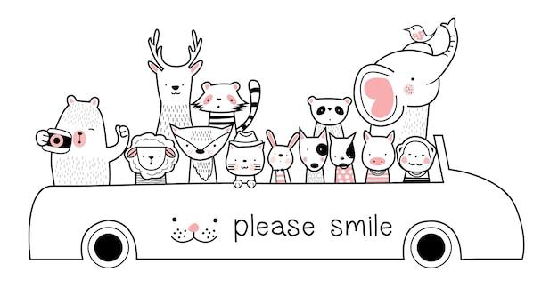 Симпатичный мультфильм эскиз животных