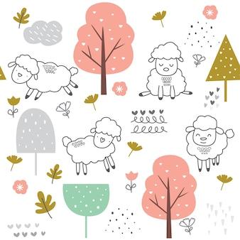かわいい赤ちゃん羊シームレスパターン