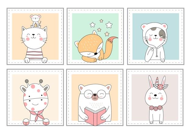 かわいい動物の漫画の手描きのスタイル