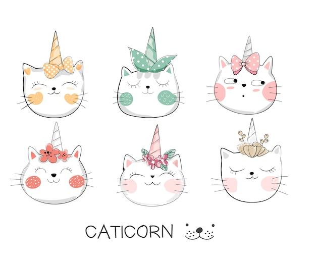 ユニコーン手で描かれたかわいい赤ちゃんの猫スタイル