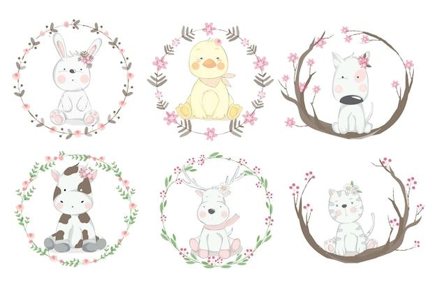 Симпатичные животные мультфильм рисованной стиль