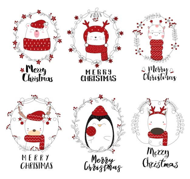 Рождественский дизайн с милой животной мультфильм рисованной стиль