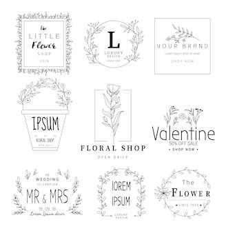 結婚式、花屋、手描きのスタイルの花のフレームセット