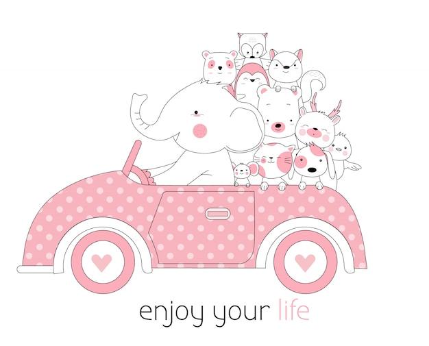 かわいい動物と漫画の手描きのスタイルで車
