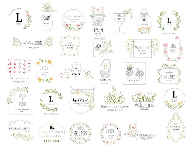 結婚式、フラワーショップ、手描きスタイルの花のフレームセット