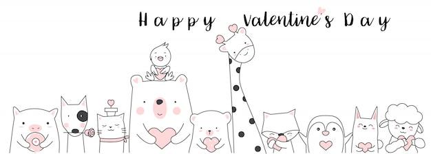 バレンタインデーの背景手描きスタイル