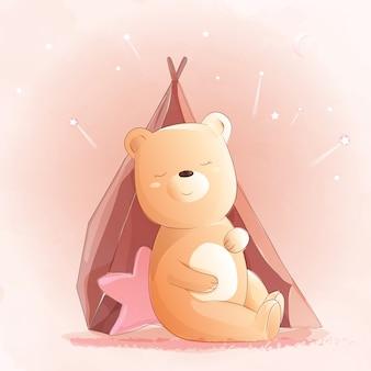 かわいい赤ちゃんクマの水彩風