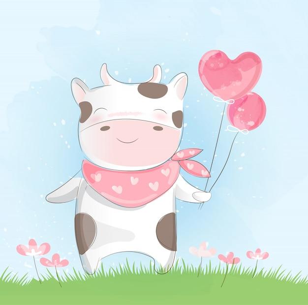 かわいい赤ちゃん牛の水彩風