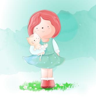 猫の水彩風のかわいい女の子