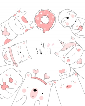 かわいい赤ちゃん動物とハートの漫画手描きスタイル