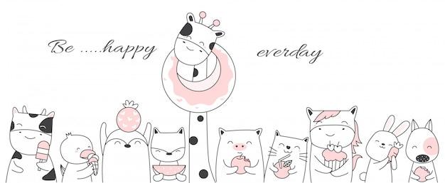 キャンディ漫画のかわいい赤ちゃん動物手描きスタイル