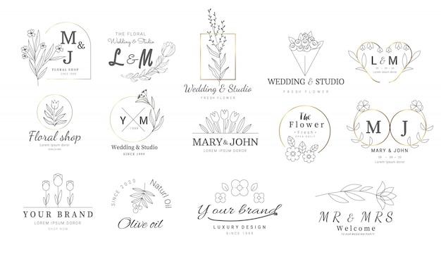 Премиум цветочные шаблоны логотипов