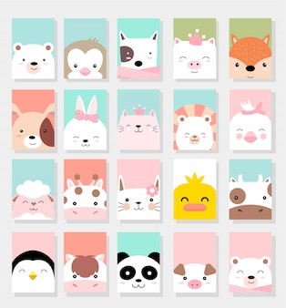 かわいい赤ちゃん動物カード漫画のスタイル