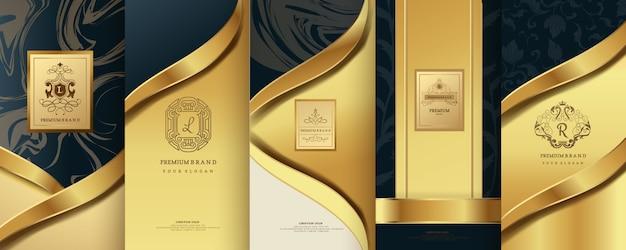 Роскошный логотип с золотой упаковкой