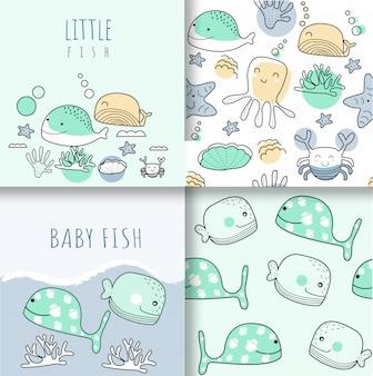 かわいい赤ちゃん動物のシームレスパターン