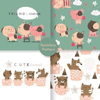 Симпатичные детские животные бесшовные модели