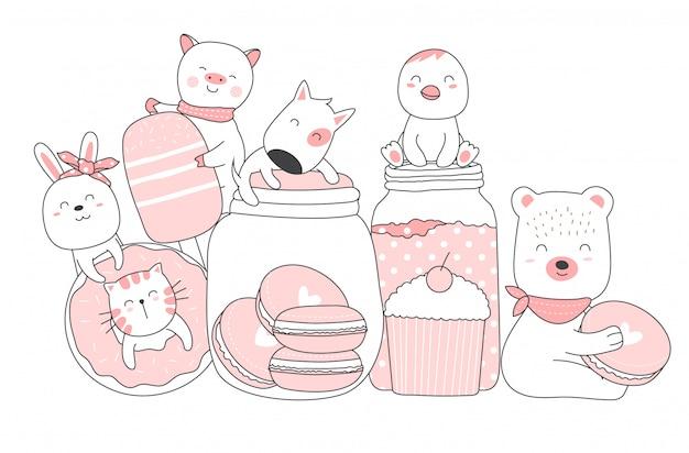 Милый мультфильм животных рисованной стиль