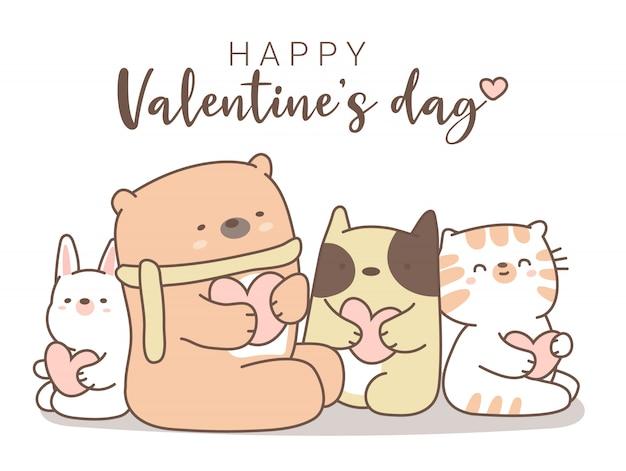 かわいい動物漫画手描きスタイルの幸せなバレンタインデー