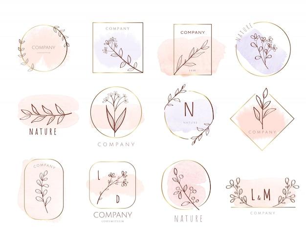 Премиум логотип шаблон акварель стиль