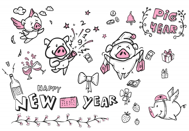 新年、ベクトル、落書き、ラインアート、新年あけましておめでとうございますのすべてのキャラクター漫画豚