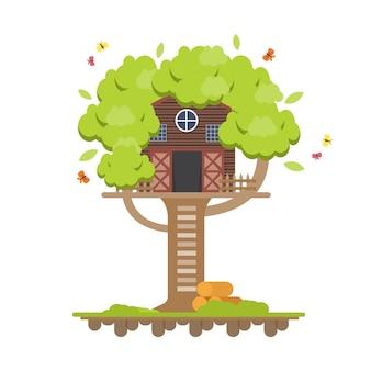 樹上の家。子供のための木の木造住宅。フラットなデザインの子供の遊び場。