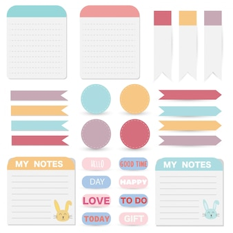 Набор милые бумажные заметки. бумага баннер дизайн для сообщения.