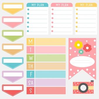 甘い色のかわいい紙メモセット。印刷可能なプランナーステッカー。メッセージのテンプレート。装飾的な計画要素