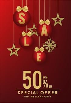 Веселого рождества и счастливого нового года продажа баннер вектор