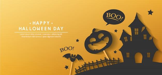 Счастливый баннер на хэллоуин