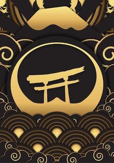 日本の金色模様のデザイン