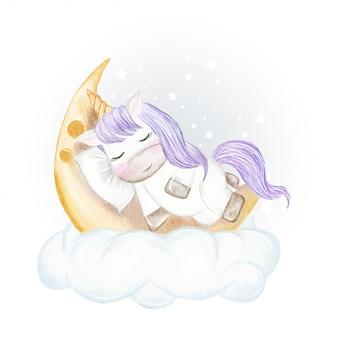 月の水彩イラストで寝ているユニコーン