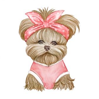 赤いリボンの水彩イラストがかわいい犬