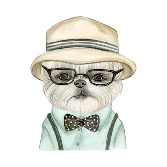 帽子とメガネの水彩イラストが愛らしいかわいい犬