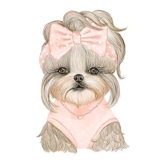 リボンの水彩イラストがかわいい子犬犬