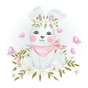 赤ちゃんウサギかわいい春水彩イラスト