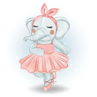 Симпатичные слон балерина акварельные иллюстрации
