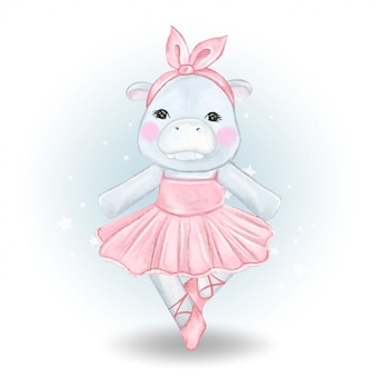 Симпатичные бегемот балерина акварельные иллюстрации