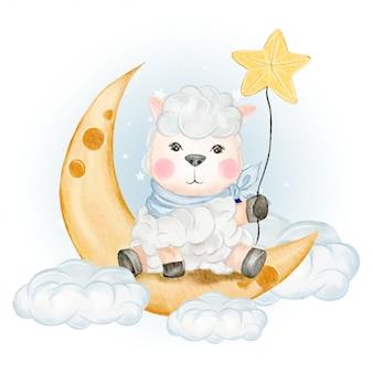 月の上に座って星を保持しているかわいい羊